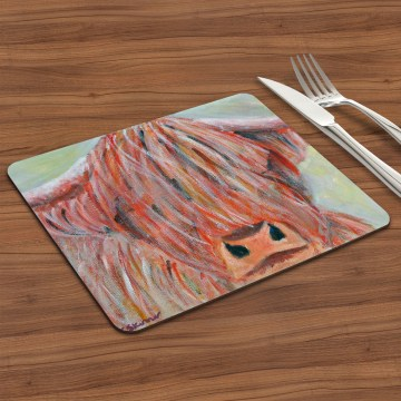 Colourful highland cow placemat