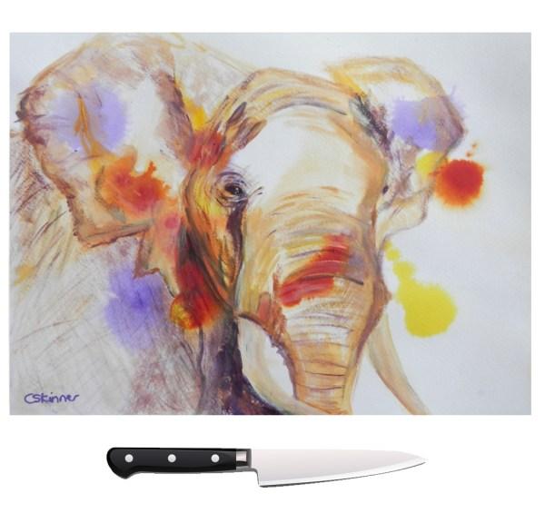 Colourful elephant glass chopping board