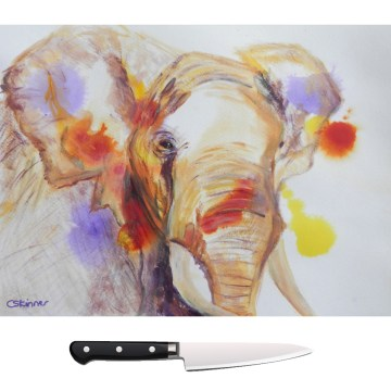 Colourful elephant glass chopping board