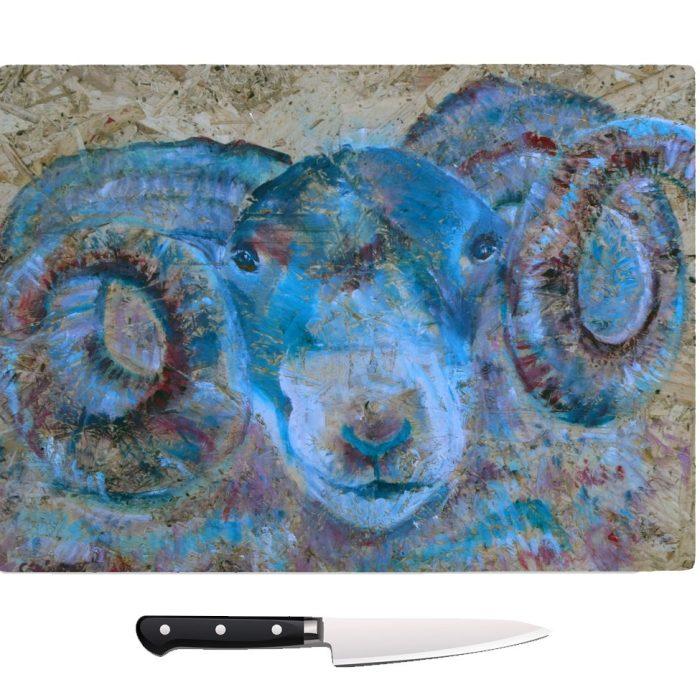 blue kitchen decor, temepred glass chopping board, sheep chopping board