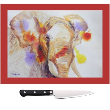 Tempered elephant chopping board
