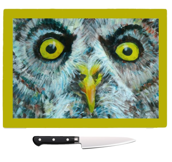 Owl worktop saver, tempered glass chopping board, heatproof pot stand