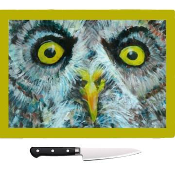 Owl worktop saver, tempered glass chopping board, heatproof pot stand
