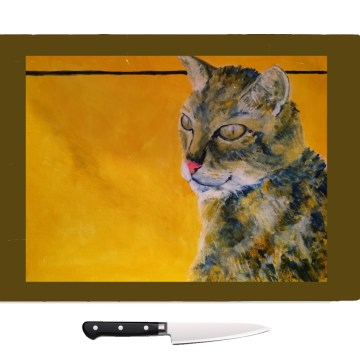 Tempered glass cutting board with gorgeous cat image