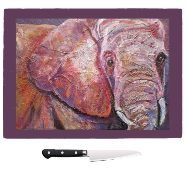 Animal glass chopping board, wildlife gift for Mum, modern pan rest, kitchen work surface protection