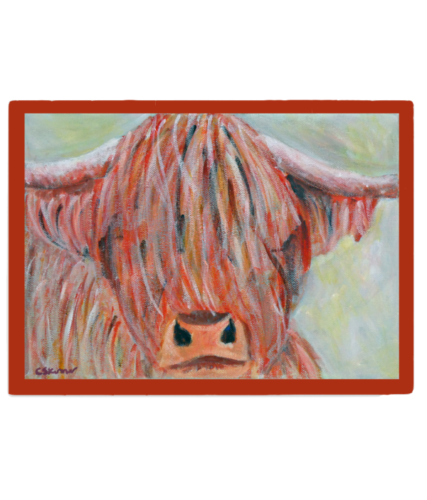 Highland cow glass chopping board, food serving platter, tempered glass pot stand