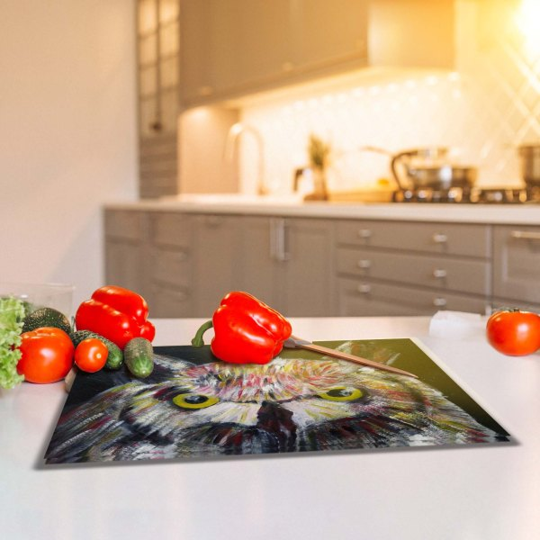owl glass chopping board in a kitchen