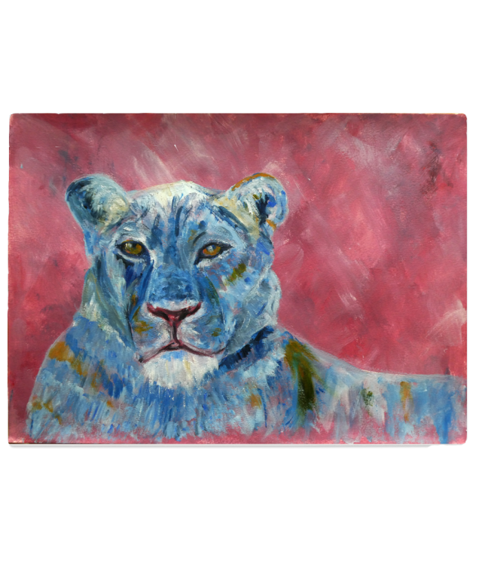 lion glass chopping board, wildlife cutting board, colourful food platter, work surface protector