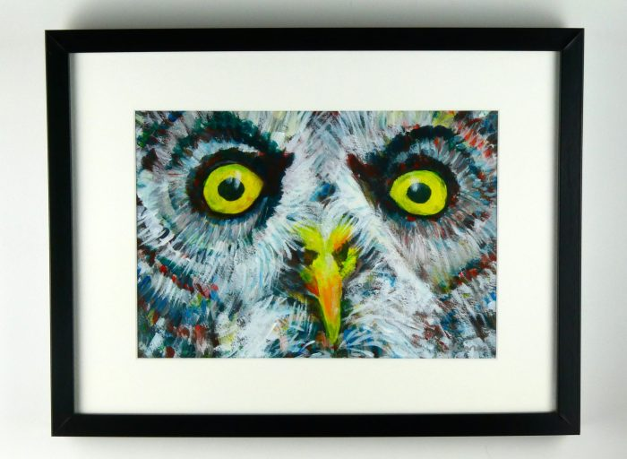 Grey owl with yellow eyes - acrylic painting by Caroline Skinner Art