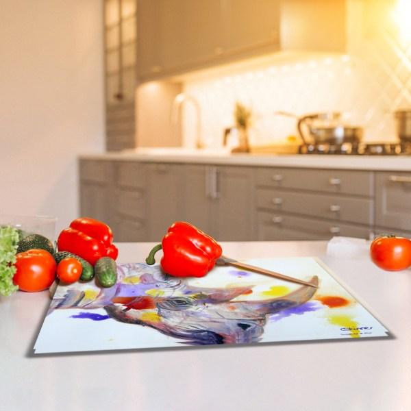Tempered glass cutting board with stylish purple rhino image