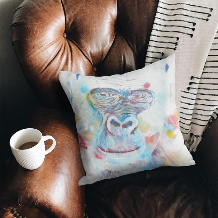 Blue ape square throw pillow