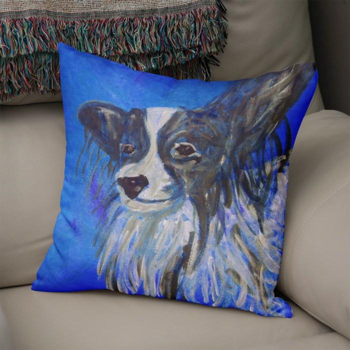 Blue Papillon dog cushion