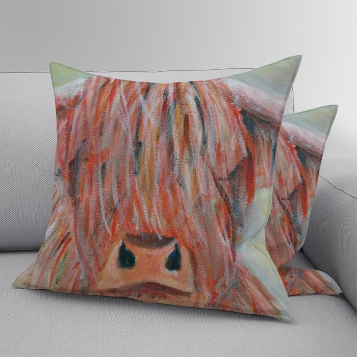 Luxury highland cow throw pillow