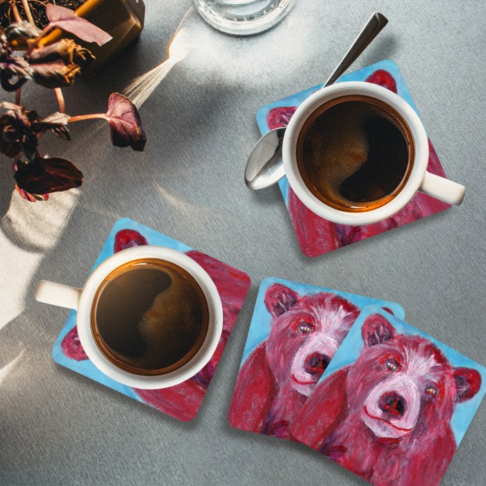 Cute bear drinks mat