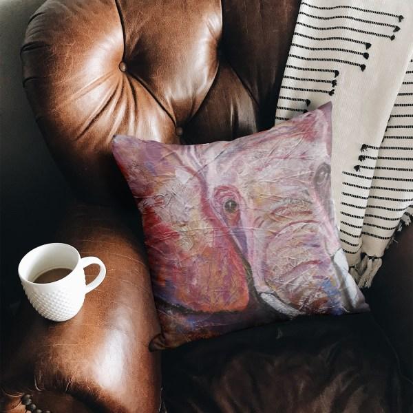 Pink and Purple elephant cushion by Caroline Skinner Art