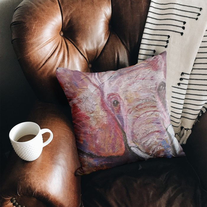 Pink and Purple elephant cushion by Caroline Skinner Art