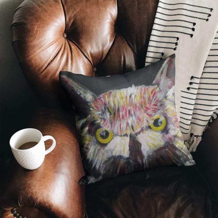 Suedette owl cushion with hidden zip