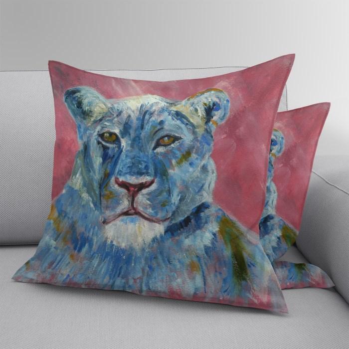 Faux suede lion cushion
