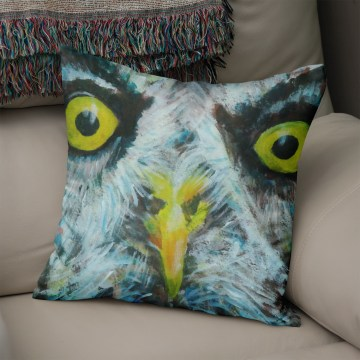 Grey owl with piercing yellow eyes, printed on a luxury faux suede cushion