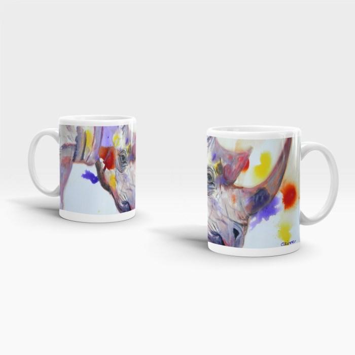 Purple 11 0z ceramic mug with rhino image