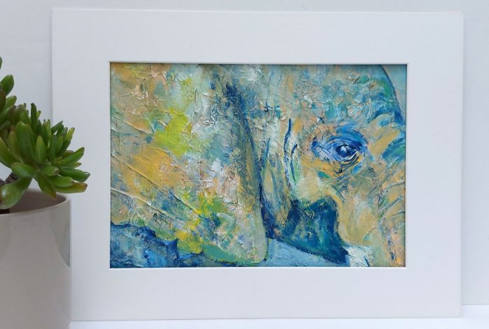 Abstract elephant - green and blue elephnat painting
