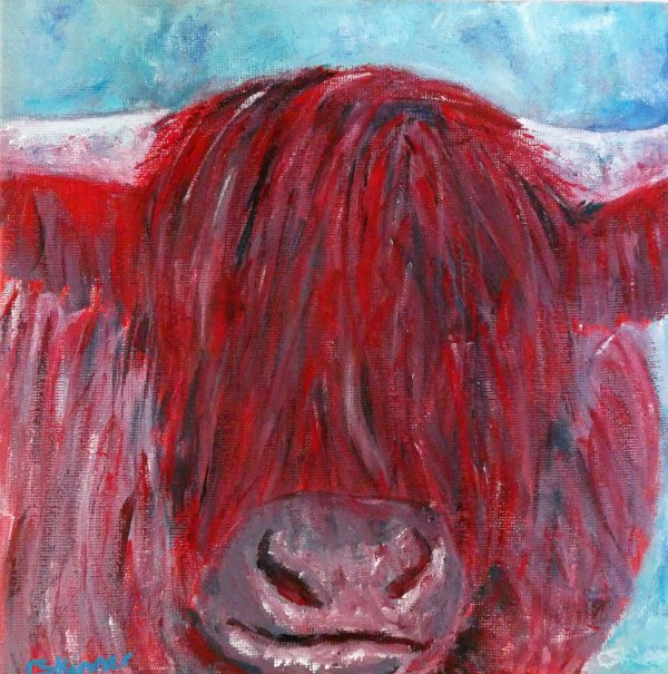Red highland cow painting by Caroline Skinner Art