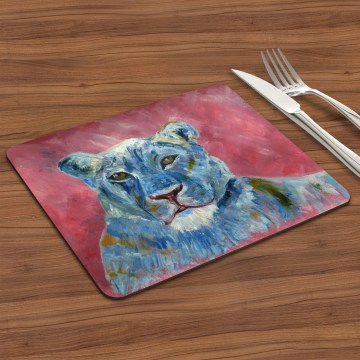Blue lioness on dusky pink placemat