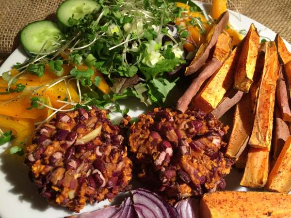 Plant Based Adzuki Bean Burgers with Sweet Potato Chips