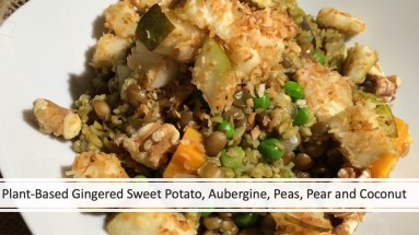 Plant-Based Gingered Sweet Potato, Aubergine, Peas, Pear and Coconut