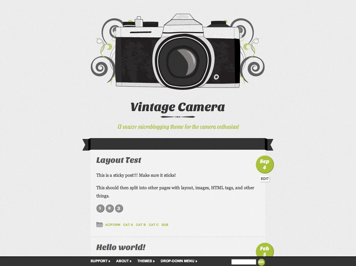 Vintage Camera WordPress Theme - K1000 Style