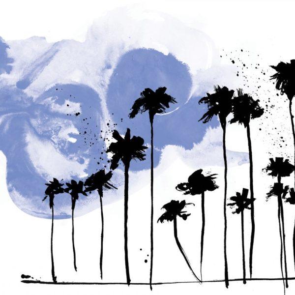 Night Palm Trees Silkscreen Print