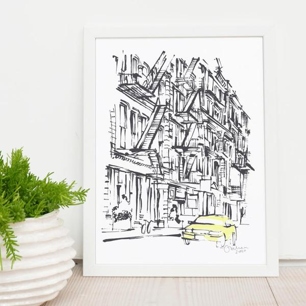 New York Illustration Fire Escapes of NYC