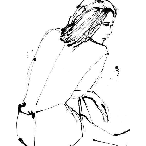 Undress Illustration - Seated Back- Giclee Print