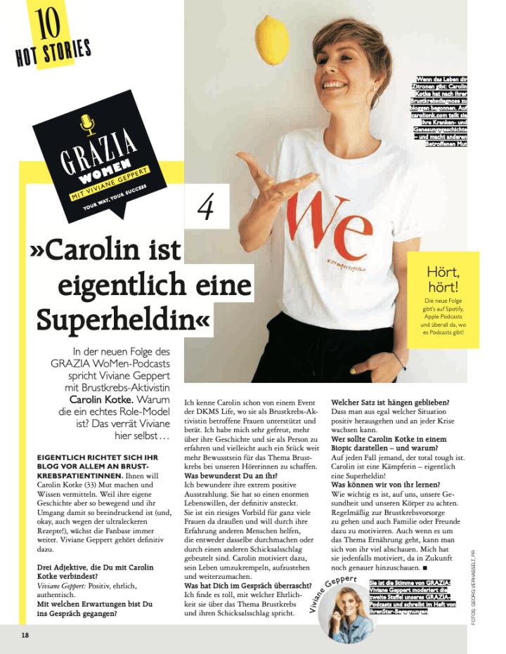 Carolin Kotke, Carolin Kotke Presse, Presse, Grazia, Grazia Magazin, Podcast, Brustkrebs, Ernährungscoach, Brustkrebs-Aktivistin