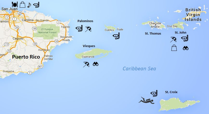 USVI map US Virgin Islands