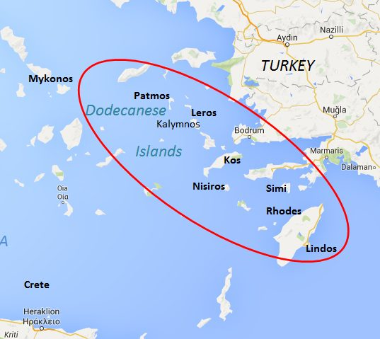 Map of the Dodecanese Islands, Greece