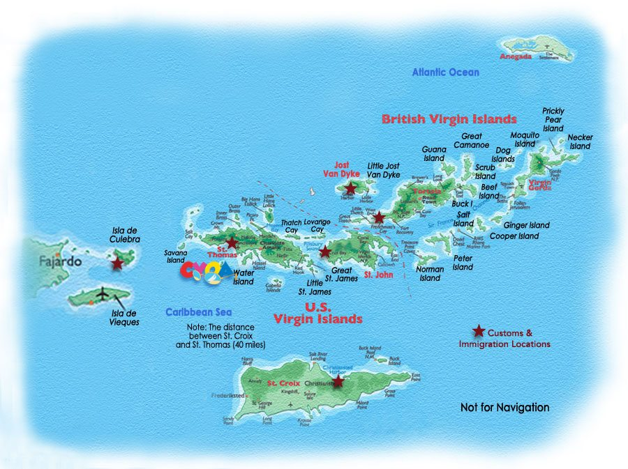 Map of the United States and British Virgin Islands