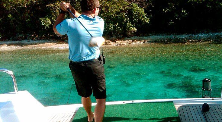 BVI-2 Hitting a golf ball off aft deck