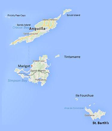 Map of Leeward Islands