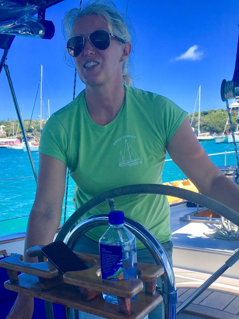 Captain Anna on the S/Y EMILY MORGAN w Carol Kent Yacht Charters