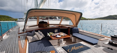 Aft deck view with champagne brunch