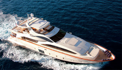 Aerial View of the 105ft motor yacht ANDIAMO!