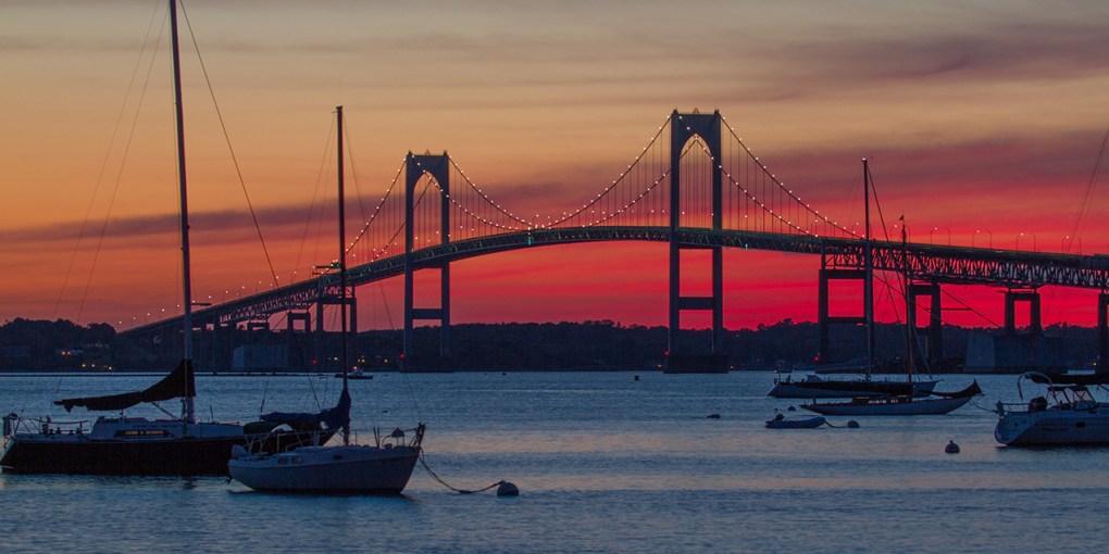 Newport Bridge at night, Newport, Rhode Island