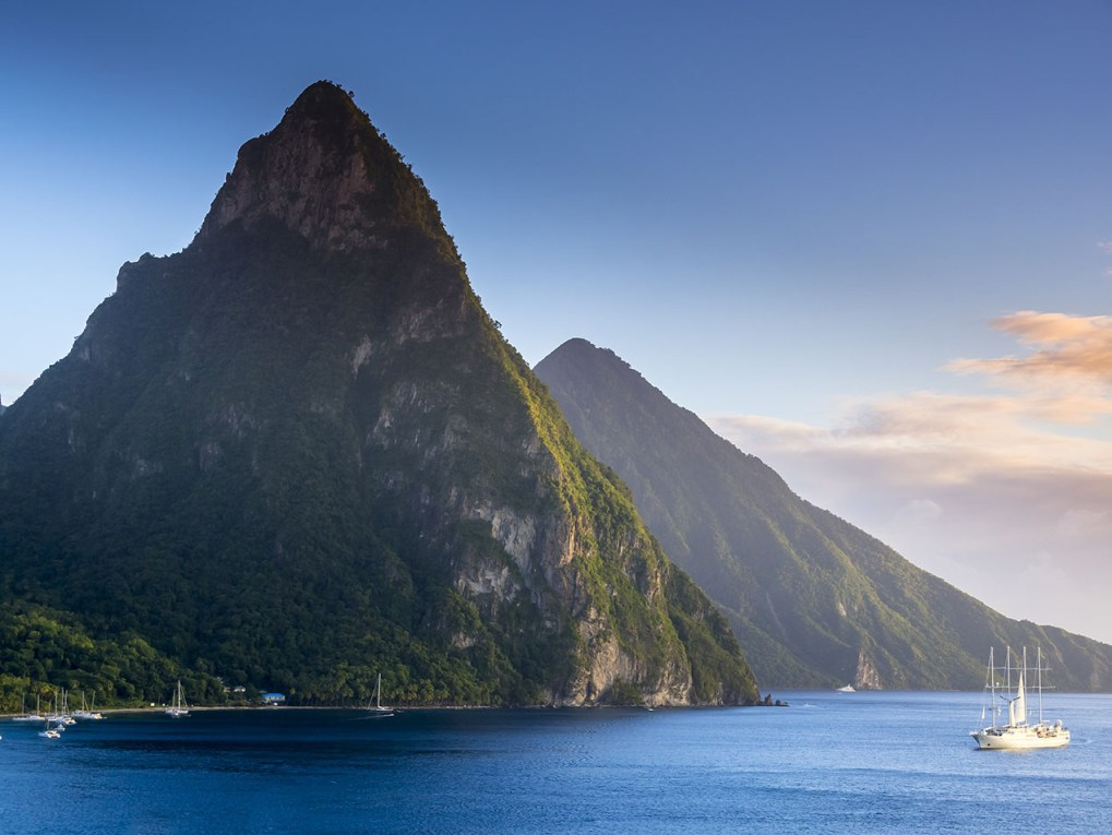 St. Lucia peaks in the Caribbean's Windward Islands w luxury yacht