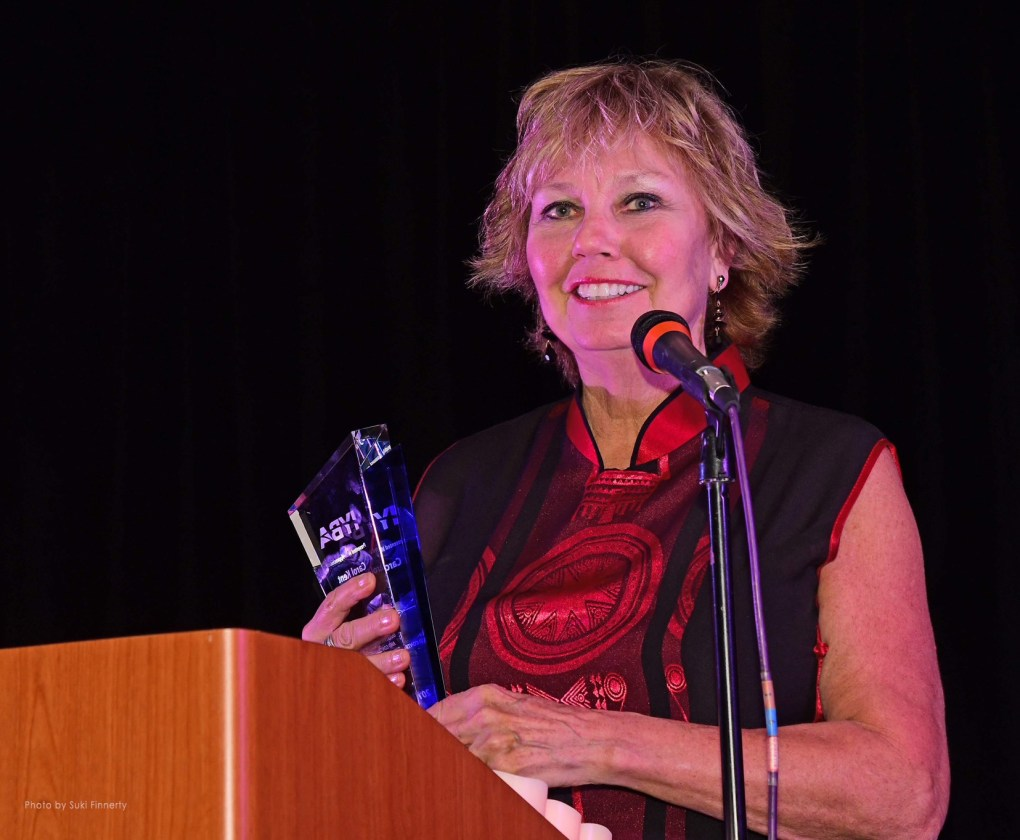 Carol Kent gives thanks to her team and industry in her IYBA award for Charter Professional of the Year