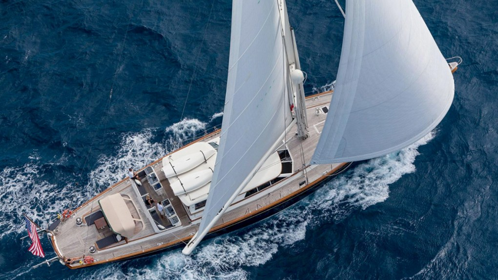 Aerial view of the 108ft sailing yacht MARAE