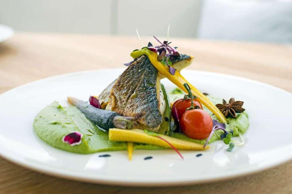 Stylish fish dish onboard motor yacht ALFEA