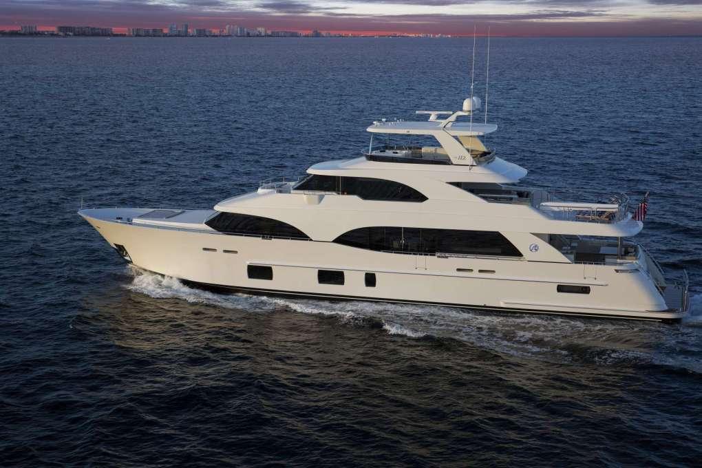 Profile shot of 112ft motor yacht SUGARAY at sea