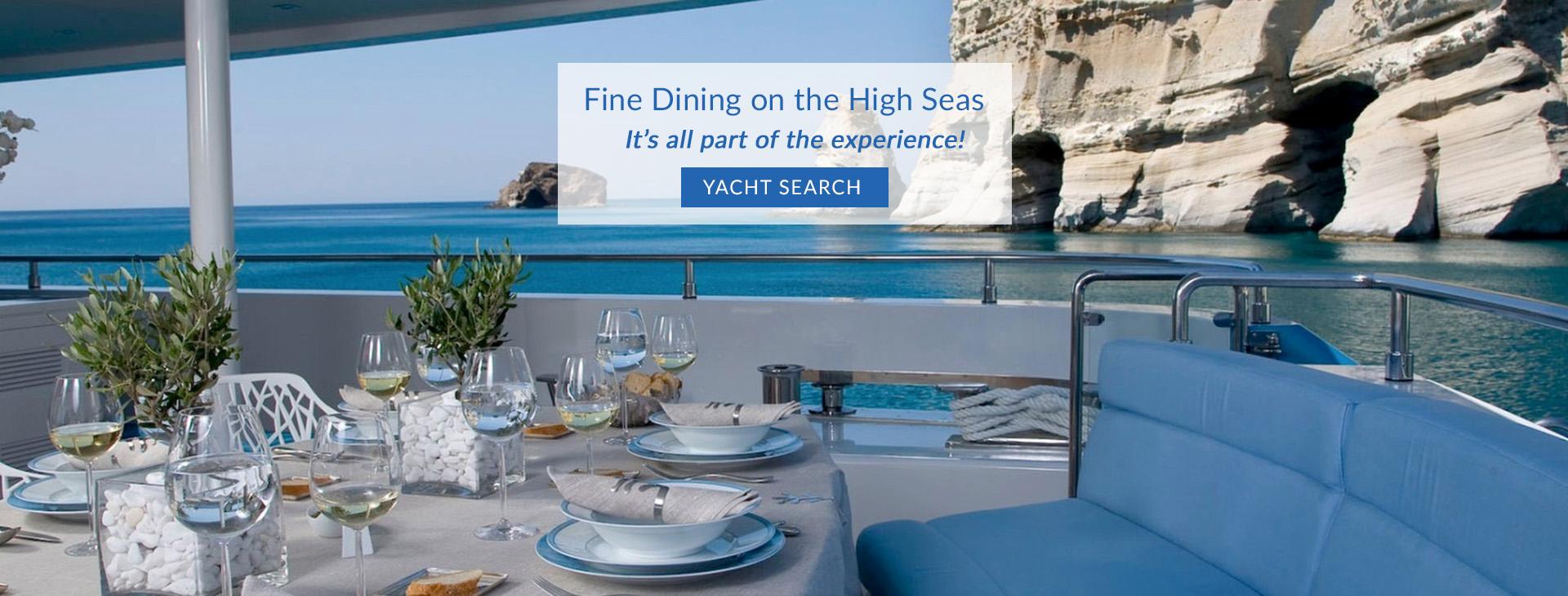 Fine dining al fresco on the motor yacht BARENTS SEA in the Mediterranean