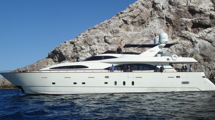 Main shot of 100ft Azimut Jumbo 100 motor yacht SUPER, operating in Mexico, East Mediterranean and the Central America